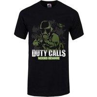 Duty Calls Noobs Beware Men's Black Tshirt / XXXL (Mens 46 to 48)