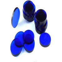 Acrylic miniature bases (20 pcs), round, clear, blue, 25 x 3 mm