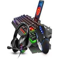 2021 Keyboard Mouse Earphone Set Keyboard Gaming Mouse Mechanicalx Feeling RGB LED Backlit Gamer Keyboards USB Wired Key Black