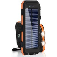 Powerbank Portable Solar External Waterproof Charger With LED Light 2USB - Blue