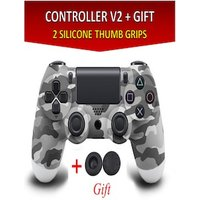 Wireless Controller for all SONY PS4 Consoles with GIFT 2 Thumb Grips for Dualshock 4 V2 Camouflage Grey PS4