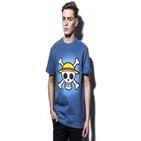 ONE PIECE: Skull with map Men's T-shirt L Blue