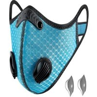 Bundle - 2 items: reusable washable cycling sport shield face mask and activated carbon filters Universal Light Blue Half-Face Robotic