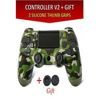 Wireless Controller for all SONY PS4 Consoles with GIFT 2 Thumb Grips for Dualshock 4 V2 Green Camo