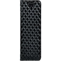 Samsung Galaxy S20 Plus- Surazo® Genuine Leather Smart Magnet RFID- Quilted diamonds - Black Glossy