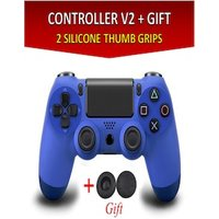 Wireless Controller for all SONY PS4 Consoles with GIFT 2 Thumb Grips for Dualshock 4 V2 Dark Blue