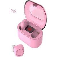 Écouteurs bluetooth sans fil avec micro et écran Led Pink