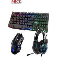 3 in 1 Gaming Sets Keyboard Mouse Earphone Black