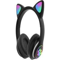 Flash Light Cute Cat Ears Bluetooth Wireless Headphone with Mic Black