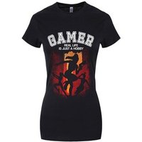 Women's Gamer Real Life Is Just A Hobby Tshirt Black Skinny Fit L (UK 12 to 14)
