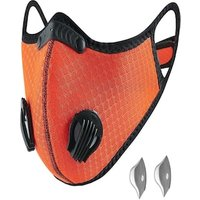 Bundle - 2 items: reusable washable cycling sport shield face mask and activated carbon filters Universal Orange Half-Face Robotic