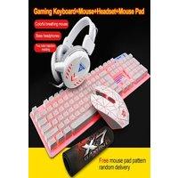 4Pcs LED Backlit GamerMechanical Keyboard+Gaming Mouse+Headset +Mouse White