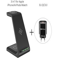 Qi 3 in 1 Wireles Chargeing Station for Apple EU Adapter Black