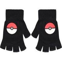 Pokemon Pokeballs Fingerless Gloves Black