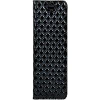 Lenovo / Motorola Moto G6- Surazo® Genuine Leather Smart Magnet RFID- Quilted diamonds - Black Gloss