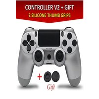 Wireless Controller for all SONY PS4 Consoles with GIFT 2 Thumb Grips for Dualshock 4 V2 Silver