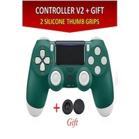 Wireless Controller for all SONY PS4 Consoles with GIFT 2 Thumb Grips for Dualshock 4 V2 Green