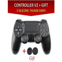 Wireless Controller for all SONY PS4 Consoles with GIFT 2 Thumb Grips for Dualshock 4 V2 Black