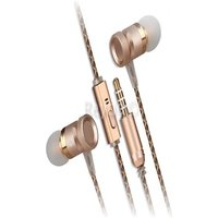 [REYTID] In-Ear Earphones Headphones - HD Sound Heavy DEEP Bass w/ MIC for iPhone / Android - Gold