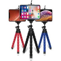 Flexible Sponge Octopus Mini Tripod With Wireless Remote Shutter For iPhone 11 Xiaomi Phone Holder Red