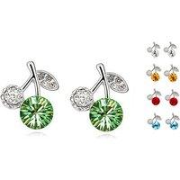 18k White Gold Plated Crystal Apple Earrings