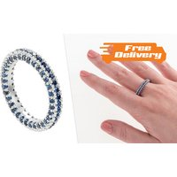 Image of Rhodium Plated Blue Simulated Sapphire Ring 4 Sizes, Free Delivery!