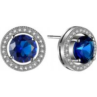 18k White Gold-plated Earrings With Lab-created Blue Sapphires