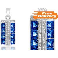 Image of Silver Plated 2ct Blue Simulated Sapphire Pendant Free Delivery!