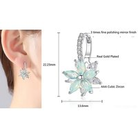Simulated Crystal Blue Flower Earrings