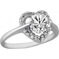 2ct Simulated Sapphire Heart Rhodium-plated Ring