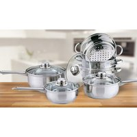 10-Piece Stainless Steel Cookware and Steamer Set