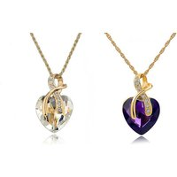 Image of Love Heart Necklace & Earrings Set 2 Colours