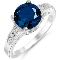 Image of 2ct Simulated Sapphire Ring With 18K White Gold Plating 4 Sizes