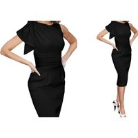 Image of Faux Leather Patchwork Pencil Dress