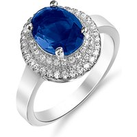 2ct Simulated Sapphire Ring With 18k White Gold Plating - 4 Sizes