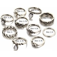 Image of Set of 9 Vintage Style Silver Knuckle Rings