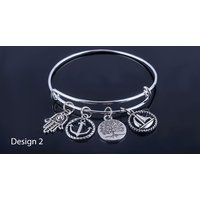 'Antique Style Silver Charm Bangle; 2 Designs