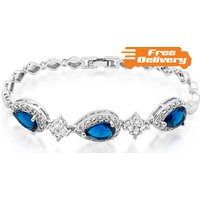Image of 18K White Gold Plated Bracelet Created Blue Sapphire Free Delivery!
