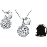Halo Necklace with Mum or Nan Silver Heart Charm – 3 Options