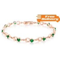 Image of Rose Gold Plated Bracelet with Simulated Emeralds Free Delivery!