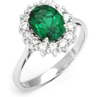 18k White Gold Plated 2.5ct Simulated Emerald Ring