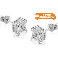 Image of 18K White Gold Plated Square Cut Studs Free Delivery!