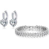 18k White Gold-plated Tennis Bracelet & Earrings Set - 1 Or 2