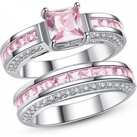 2.5ct Pink Simulated Sapphire Princess Ring Set And Free Cz Crystal Hoop Earrings