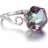 Image of 1.6ct Blue Simulated Topaz Solitaire Ring 4 Sizes