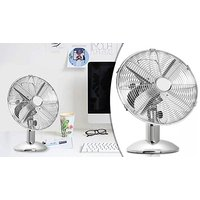 10 or 12 Inch Oscillating Chrome Table Fan - 3 Speed Settings!