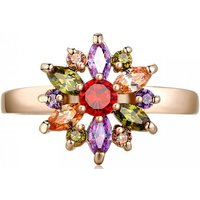 2ct Multi-coloured Simulated Sapphire Flower Ring