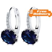 18k White Gold-plated Simulated Sapphire Earrings - Free Delivery!