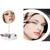 10x Magnifying Make-up Mirror with Stand & LED Lighting