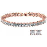 18k Rose Gold Plated Princess Bracelet & Earrings